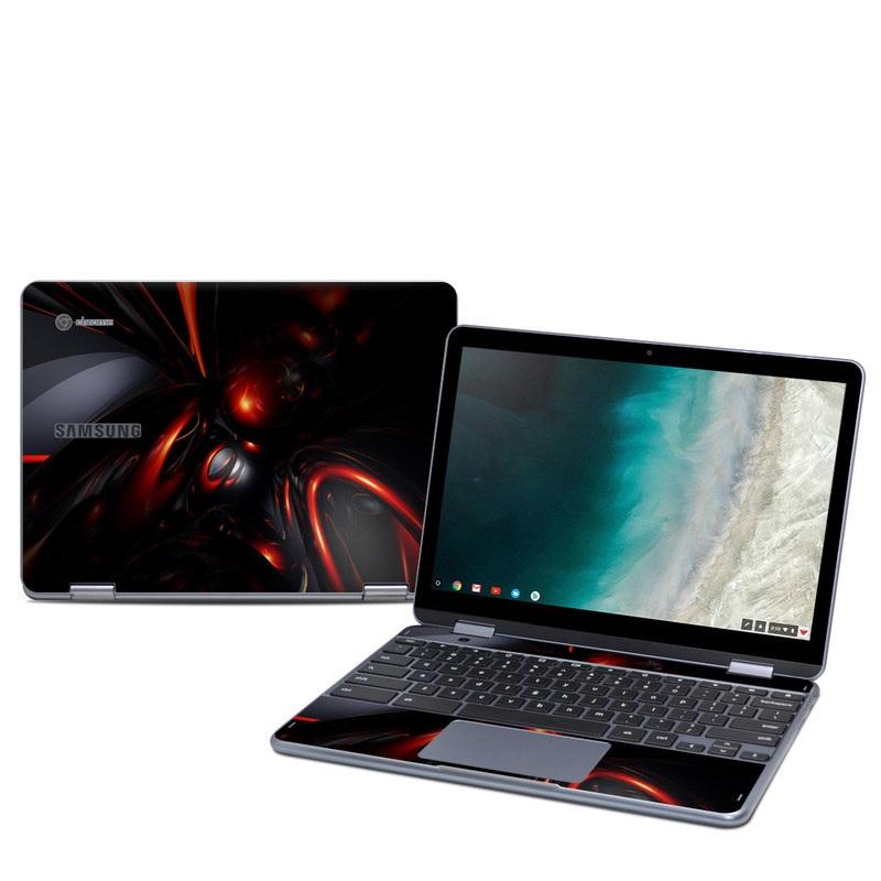 Samsung Chromebook Plus 2019 Skin design of Red, Light, Fractal art, Automotive lighting, Design, Automotive design, Graphics, Art, Darkness, Technology with black, red colors
