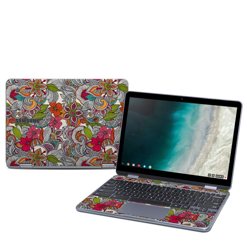 Samsung Chromebook Plus 2019 Skin design of Pattern, Drawing, Visual arts, Art, Design, Doodle, Floral design, Motif, Illustration, Textile with gray, red, black, green, purple, blue colors