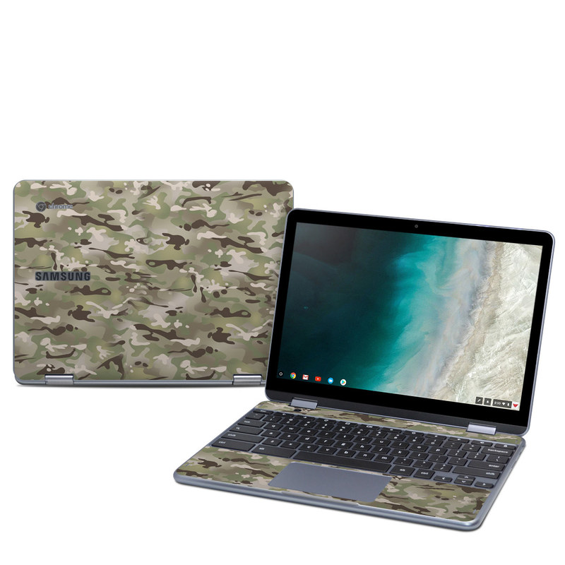 Samsung Chromebook Plus 2019 Skin design of Military camouflage, Camouflage, Pattern, Clothing, Uniform, Design, Military uniform, Bed sheet with gray, green, black, red colors