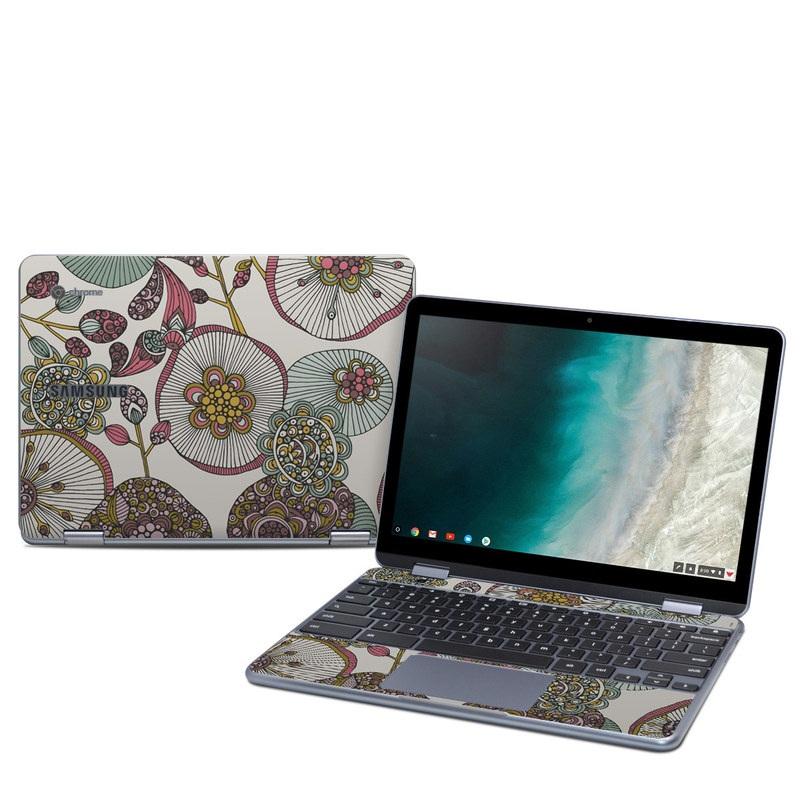 Samsung Chromebook Plus 2019 Skin design of Pattern, Textile, Botany, Visual arts, Motif, Design, Needlework, Circle, Floral design with gray, pink, green, blue, purple colors