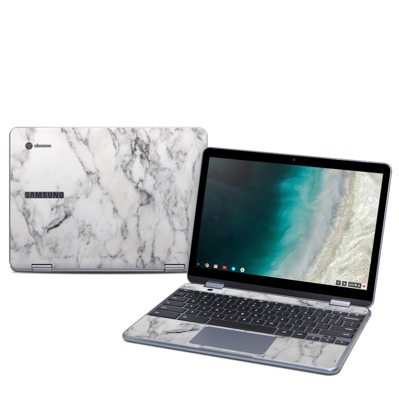 Samsung Chromebook Plus 2019 Skin design of White, Geological phenomenon, Marble, Black-and-white, Freezing with white, black, gray colors