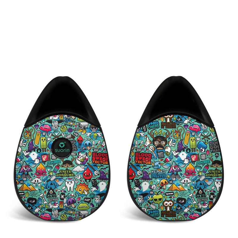 Suorin Drop Skin design of Cartoon, Art, Pattern, Design, Illustration, Visual arts, Doodle, Psychedelic art with black, blue, gray, red, green colors