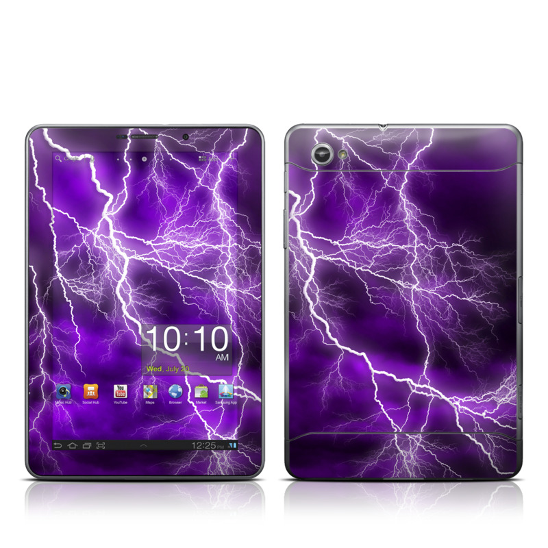 Samsung Galaxy Tab 7.7 Skin design of Thunder, Lightning, Thunderstorm, Sky, Nature, Purple, Violet, Atmosphere, Storm, Electric blue with purple, black, white colors