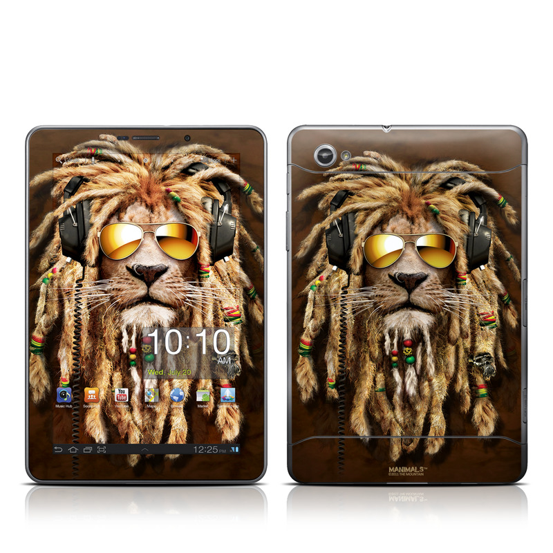 Samsung Galaxy Tab 7.7 Skin design of Hair, Fur, Dreadlocks, Snout, Organism, Glasses, Whiskers, Mask, Wildlife, Fictional character with black, green, red, gray colors