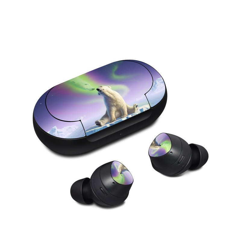 Samsung Galaxy Buds Skin design of Aurora, Sky, Wildlife, Polar bear, Fictional character with white, blue, green, purple colors