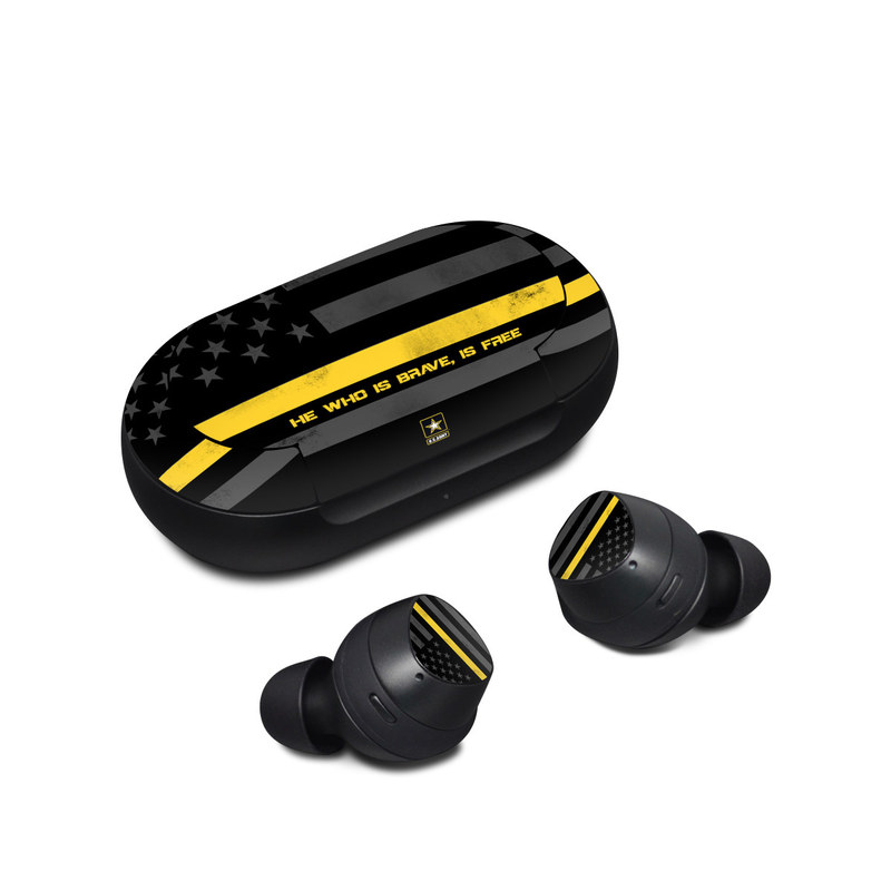 Samsung Galaxy Buds Skin design of Text, Yellow, Font, Line, Parallel, Graphic design, Logo, Graphics with black, gray, yellow, orange colors