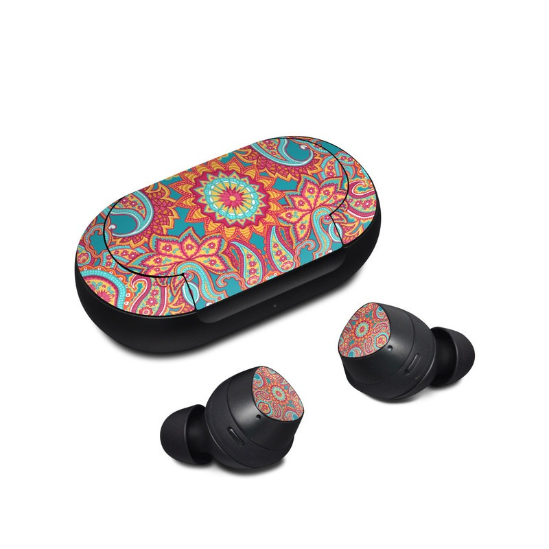 Samsung Galaxy Buds Skin design of Pattern, Paisley, Motif, Visual arts, Design, Art, Textile, Psychedelic art with orange, yellow, blue, red colors