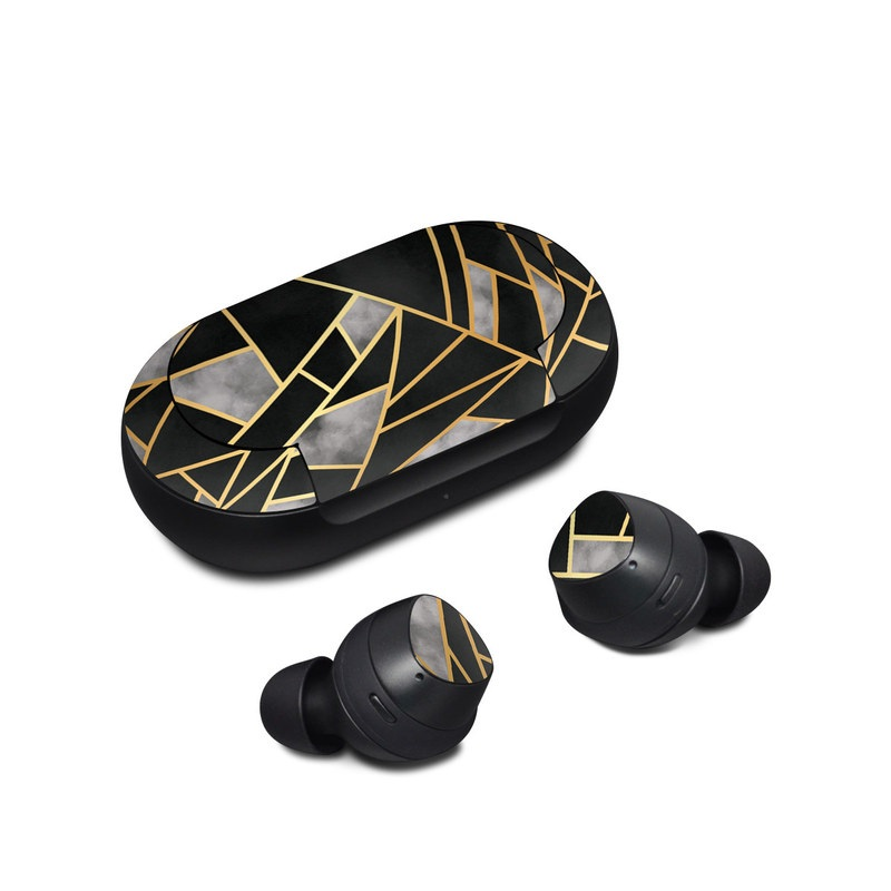 Samsung Galaxy Buds Skin design of Pattern, Triangle, Yellow, Line, Tile, Floor, Design, Symmetry, Architecture, Flooring with black, gray, yellow colors