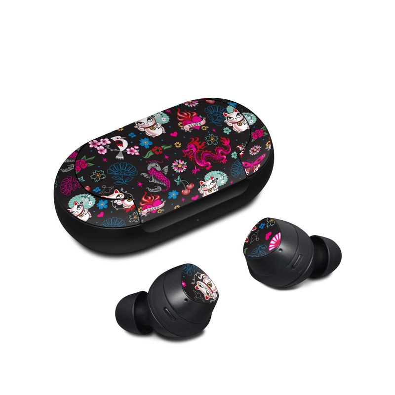 Samsung Galaxy Buds Skin design of Cartoon, Pink, Illustration, Pattern, Graphic design, Design, Font, Visual arts, Graphics, Art with black, gray, red, purple, pink, white colors