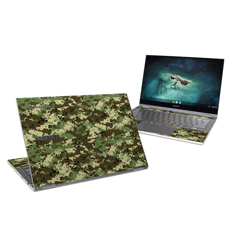 Samsung Galaxy Chromebook Skin design of Military camouflage, Pattern, Camouflage, Green, Uniform, Clothing, Design, Military uniform with black, gray, green colors