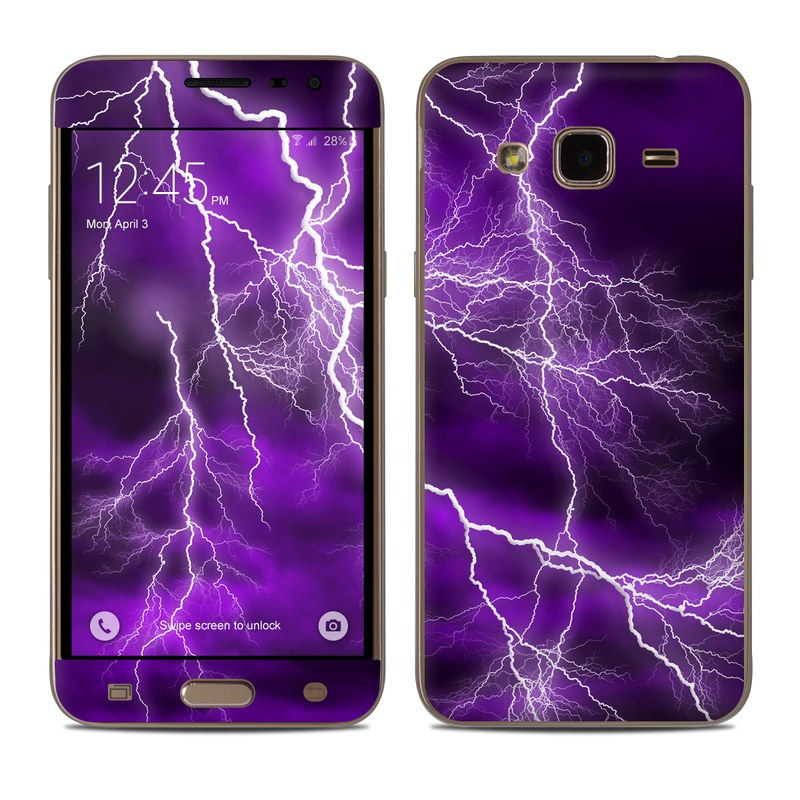 Samsung Galaxy J3 Skin design of Thunder, Lightning, Thunderstorm, Sky, Nature, Purple, Violet, Atmosphere, Storm, Electric blue with purple, black, white colors