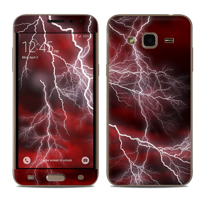 Samsung Galaxy J3 Skin design of Thunder, Thunderstorm, Lightning, Red, Nature, Sky, Atmosphere, Geological phenomenon, Lighting, Atmospheric phenomenon with red, black, white colors