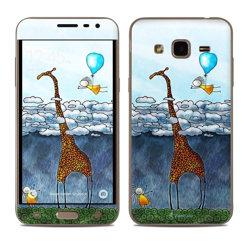 Samsung Galaxy J3 Skin design of Giraffe, Sky, Tree, Water, Branch, Giraffidae, Illustration, Cloud, Grassland, Bird with blue, gray, yellow, green colors