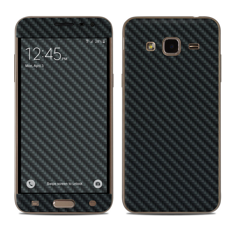 Samsung Galaxy J3 Skin design of Green, Black, Blue, Pattern, Turquoise, Carbon, Textile, Metal, Mesh, Woven fabric with black colors