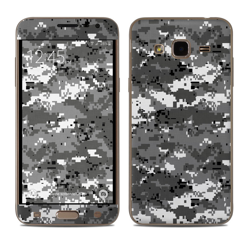 Samsung Galaxy J3 Skin design of Military camouflage, Pattern, Camouflage, Design, Uniform, Metal, Black-and-white with black, gray colors