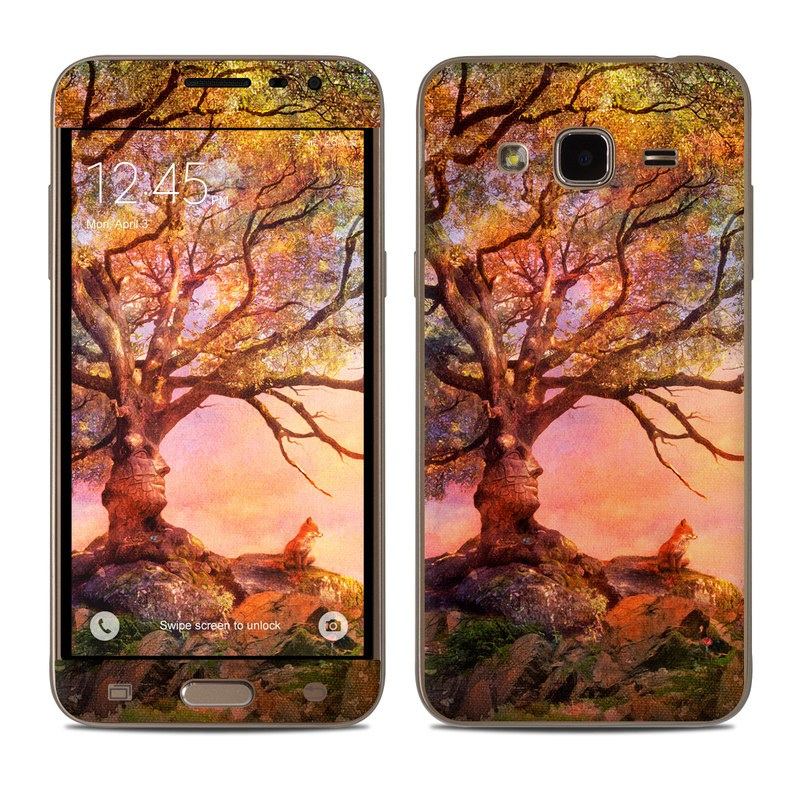 Samsung Galaxy J3 Skin design of Nature, Tree, Sky, Natural landscape, Branch, Leaf, Woody plant, Trunk, Landscape, Plant with pink, red, black, green, gray, orange colors
