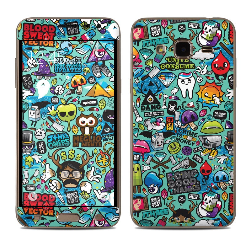 Samsung Galaxy J3 Skin design of Cartoon, Art, Pattern, Design, Illustration, Visual arts, Doodle, Psychedelic art with black, blue, gray, red, green colors