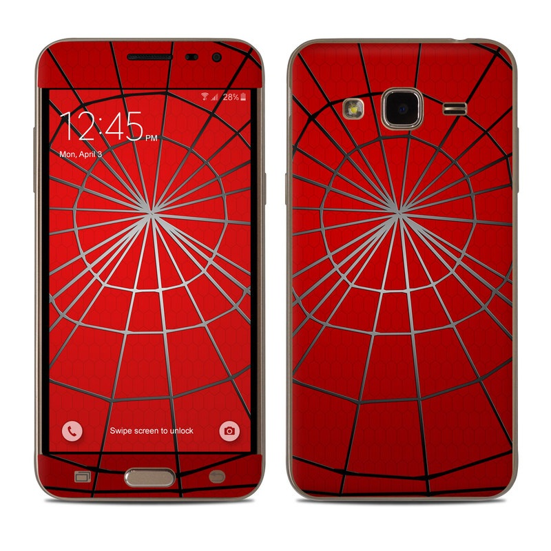 Samsung Galaxy J3 Skin design of Red, Symmetry, Circle, Pattern, Line with red, black, gray colors