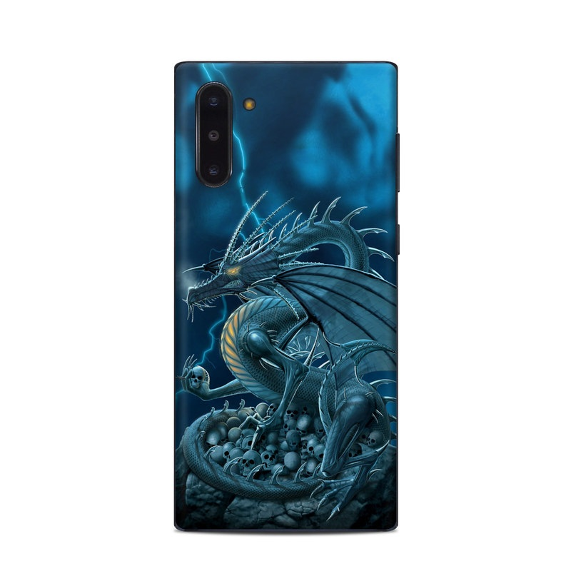 Samsung Galaxy Note 10 Skin design of Cg artwork, Dragon, Mythology, Fictional character, Illustration, Mythical creature, Art, Demon with blue, yellow colors