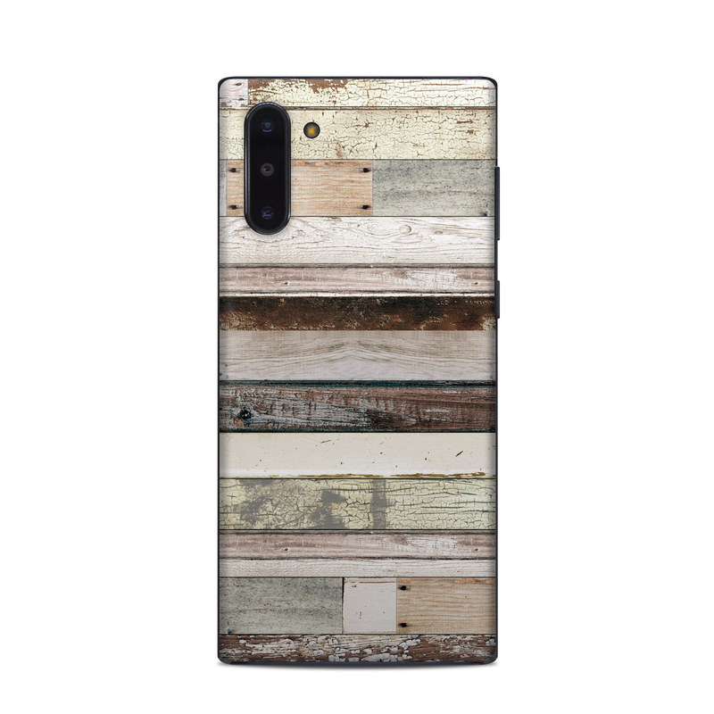 Samsung Galaxy Note 10 Skin design of Wood, Wall, Plank, Line, Lumber, Wood stain, Beige, Parallel, Hardwood, Pattern with brown, white, gray, yellow colors