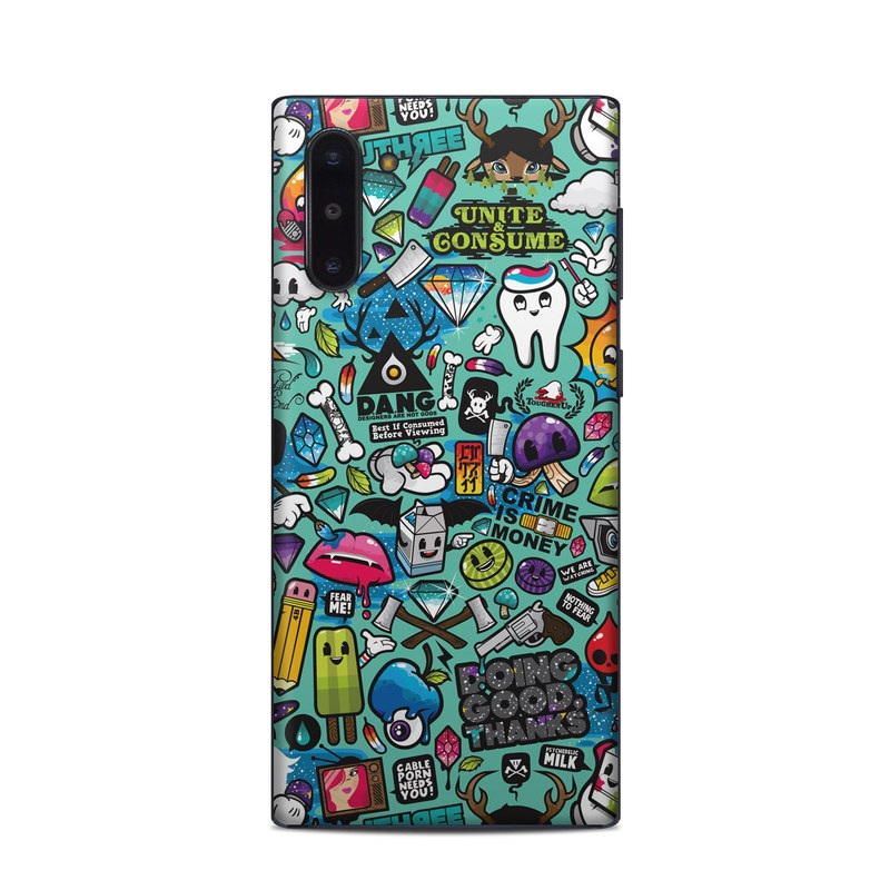 Samsung Galaxy Note 10 Skin design of Cartoon, Art, Pattern, Design, Illustration, Visual arts, Doodle, Psychedelic art with black, blue, gray, red, green colors