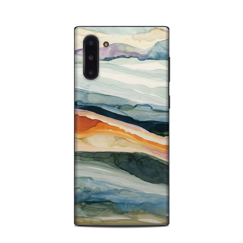 Samsung Galaxy Note 10 Skin design of Watercolor paint, Painting, Sky, Wave, Geology, Landscape, Pattern, Acrylic paint, Cloud, Paint with blue, purple, orange, yellow, red, green, brown colors