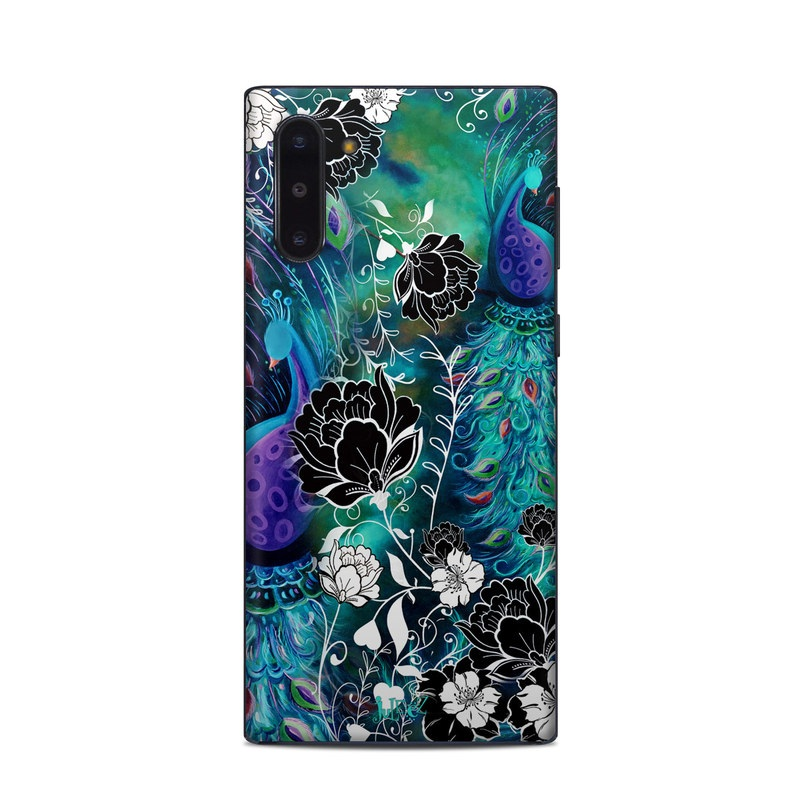 Samsung Galaxy Note 10 Skin design of Pattern, Psychedelic art, Organism, Turquoise, Purple, Graphic design, Art, Design, Illustration, Fractal art with black, blue, gray, green, white colors