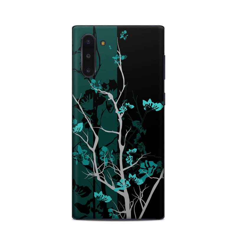 Samsung Galaxy Note 10 Skin design of Branch, Black, Blue, Green, Turquoise, Teal, Tree, Plant, Graphic design, Twig with black, blue, gray colors