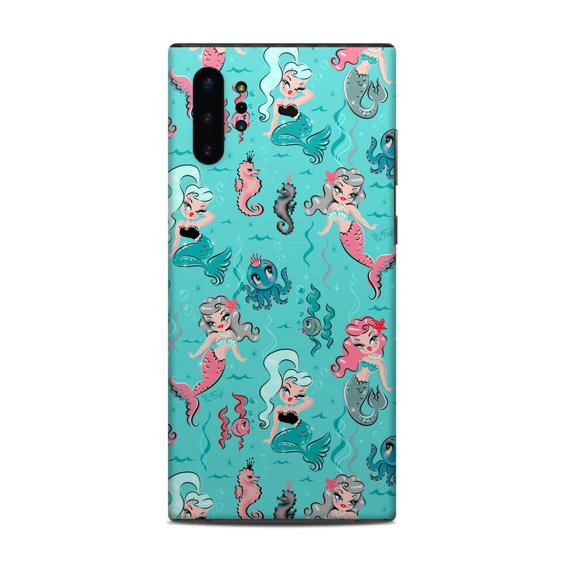 Samsung Galaxy Note 10 Plus Skin design of Turquoise, Wrapping paper, Cartoon, Pattern, Textile, Aqua, Design, Gift wrapping, Illustration, Fictional character with blue, pink, yellow, gray colors