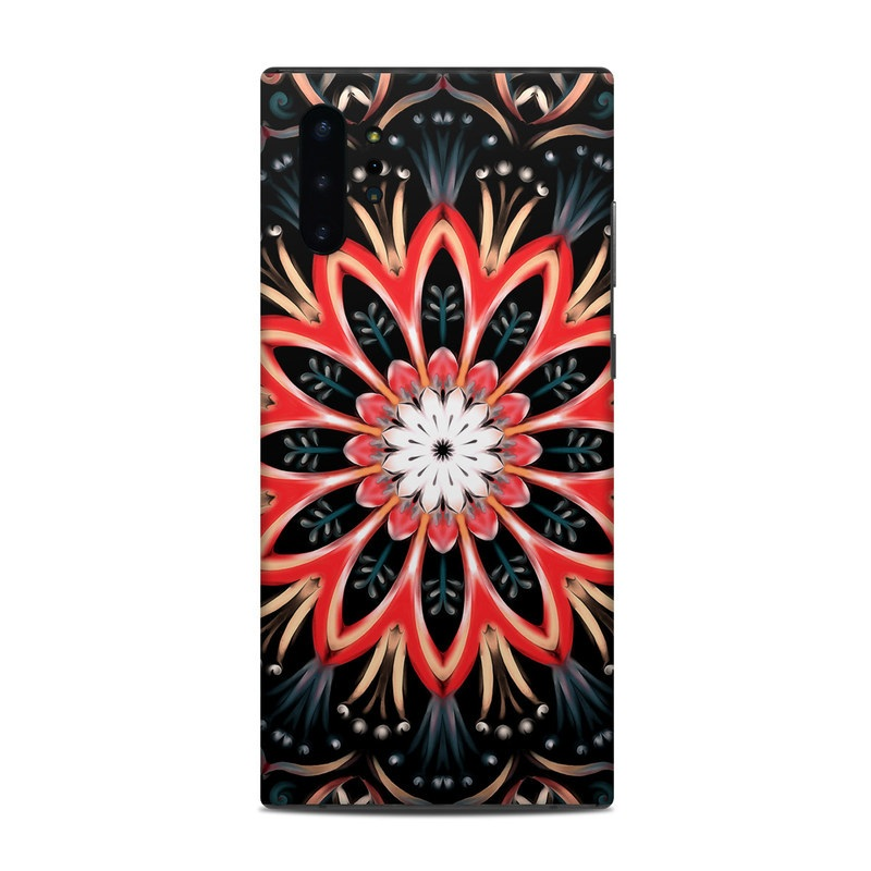 Samsung Galaxy Note 10 Plus Skin design of Pattern, Psychedelic art, Symmetry, Design, Art, Visual arts, Textile, Kaleidoscope, Fractal art, Ornament with black, red, white, blue, yellow, orange colors