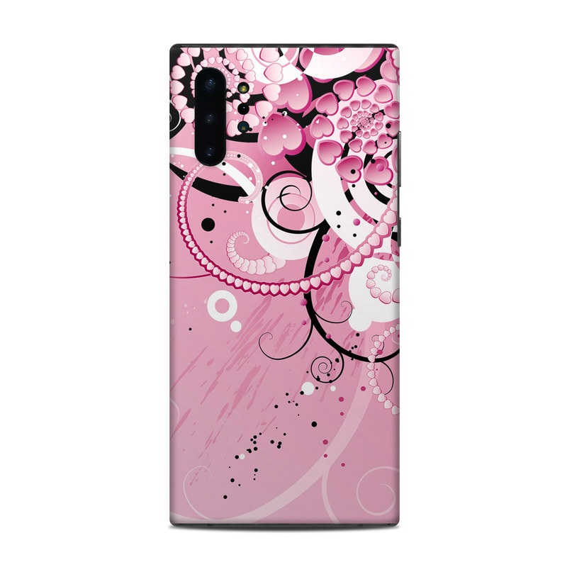 Samsung Galaxy Note 10 Plus Skin design of Pink, Floral design, Graphic design, Text, Design, Flower Arranging, Pattern, Illustration, Flower, Floristry with pink, gray, black, white, purple, red colors
