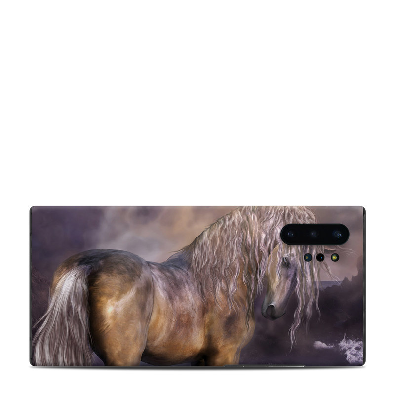 Samsung Galaxy Note 10 Plus Skin design of Horse, Mane, Stallion, Mustang horse, Fictional character, Mare, Painting, Wildlife, Mythical creature with black, gray, red, blue, green colors
