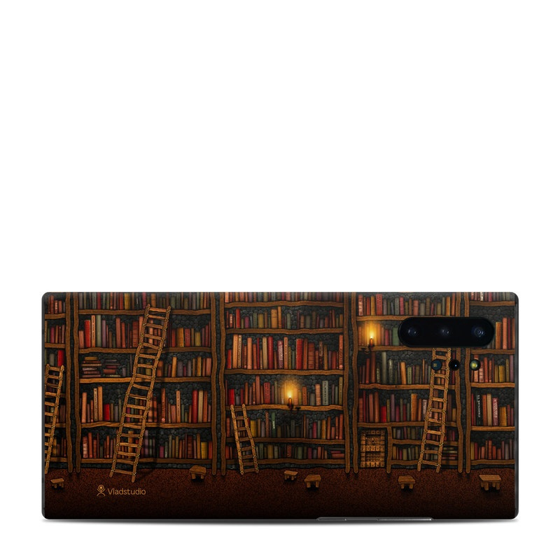 Samsung Galaxy Note 10 Plus Skin design of Shelving, Library, Bookcase, Shelf, Furniture, Book, Building, Publication, Room, Darkness with black, red colors