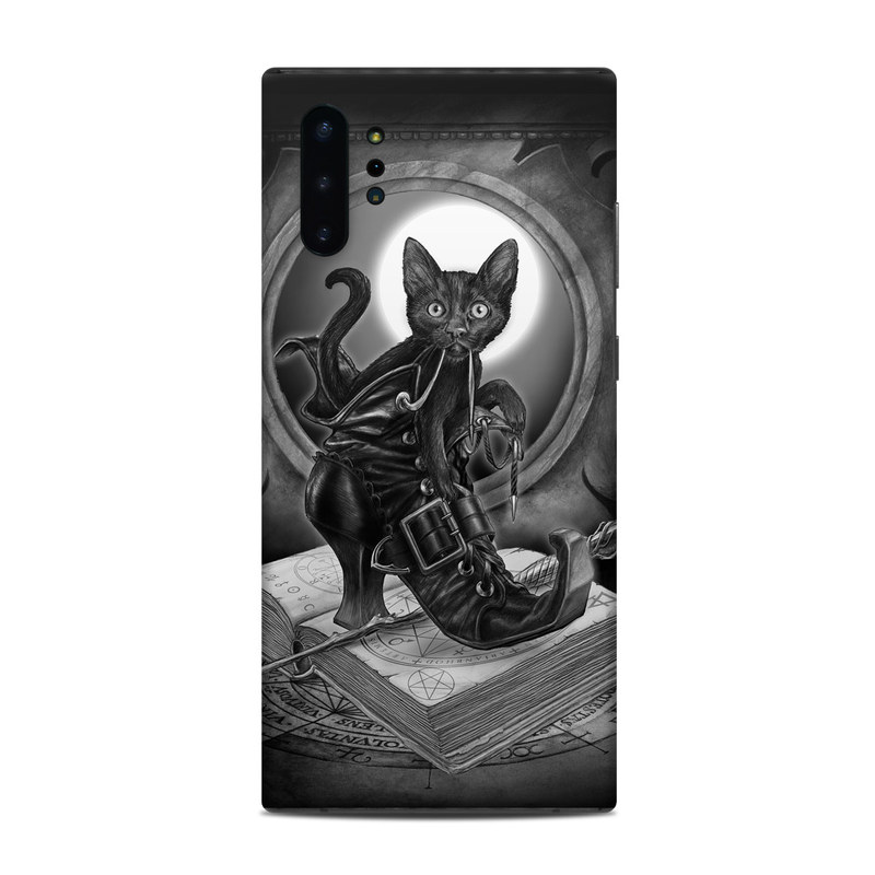 Samsung Galaxy Note 10 Plus Skin design of Cat, Boot, Book, Wand, Shoelace, Mirror with black, white, gray colors