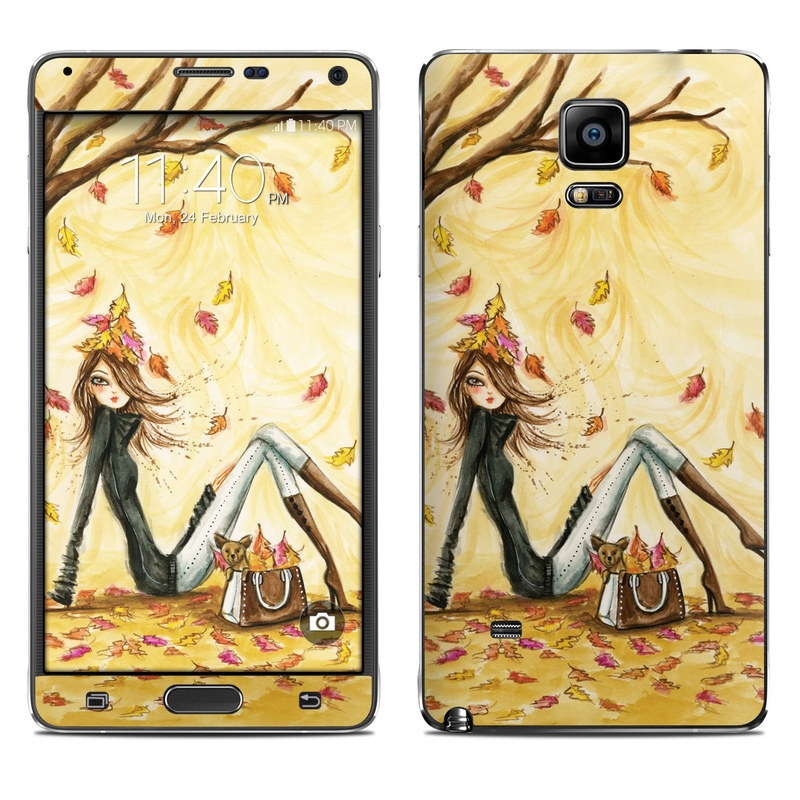 Samsung Galaxy Note 4 Skin design of Painting, Watercolor paint, Tree, Art, Illustration, Plant, Modern art, Visual arts, Still life, Fictional character with yellow, red, brown, orange, black, white colors