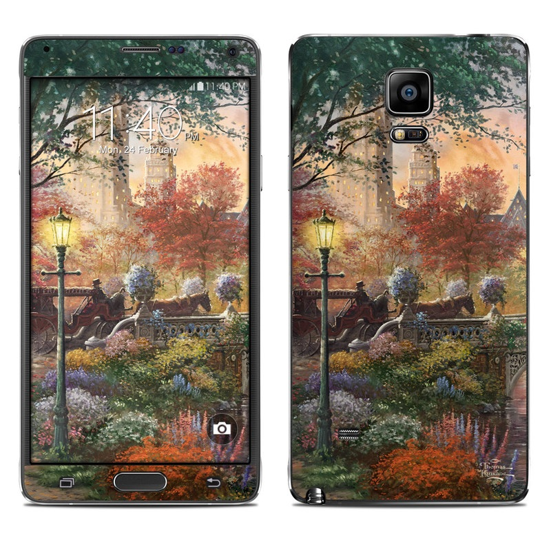 Samsung Galaxy Note 4 Skin design of Painting, Nature, Watercolor paint, Natural landscape, Art, Bank, Landscape, Acrylic paint, Waterway, Sky with red, green, yellow, orange, gray, blue colors