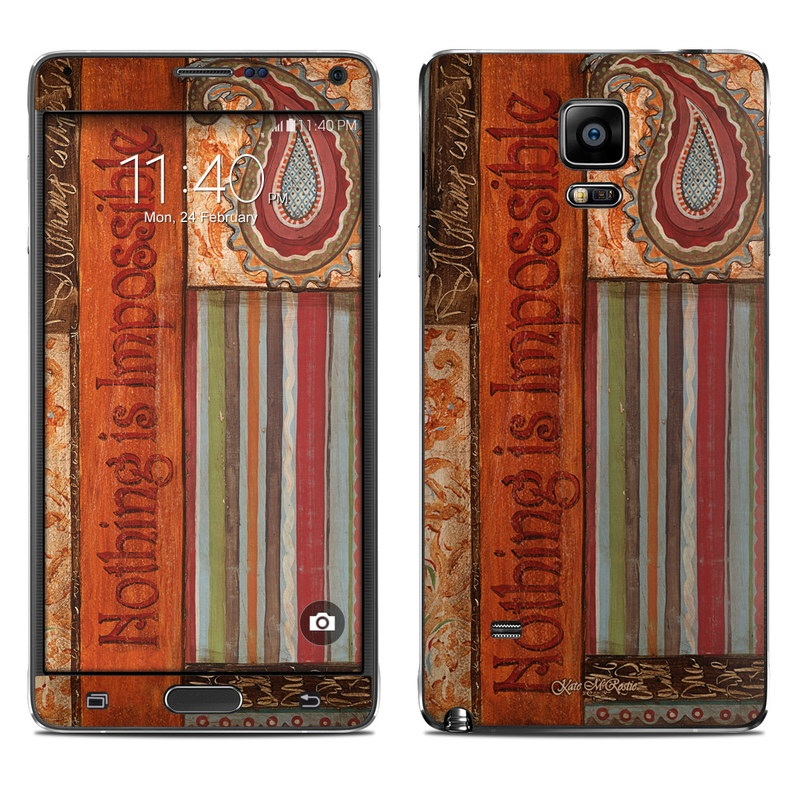 Samsung Galaxy Note 4 Skin design of Orange, Pattern, Text, Textile, Design, Visual arts, Font, Room, Wallpaper, Motif with brown, red, blue, yellow, orange colors