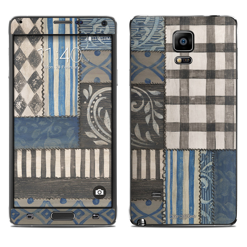 Samsung Galaxy Note 4 Skin design of Blue, Pattern, Wall, Brown, Textile, Room, Design, Beige, Floor with blue, pink, white colors