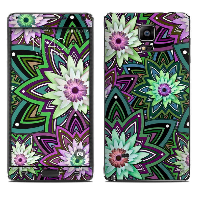 Samsung Galaxy Note 4 Skin design of Pattern, Purple, Green, Flower, Psychedelic art, Design, Lilac, Plant, Symmetry, Visual arts with black, gray, green, purple, blue, red colors