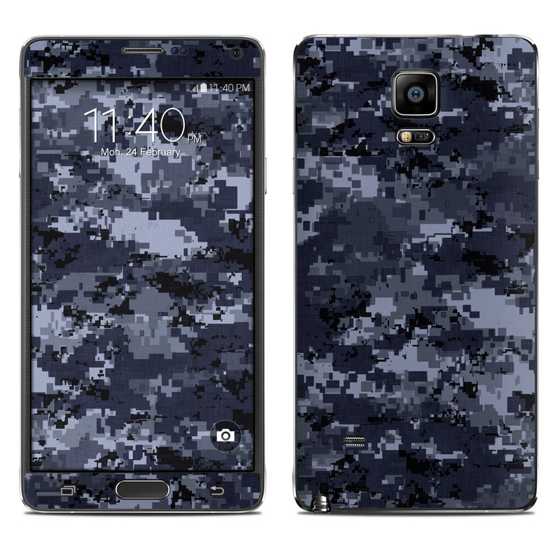 Samsung Galaxy Note 4 Skin design of Military camouflage, Black, Pattern, Blue, Camouflage, Design, Uniform, Textile, Black-and-white, Space with black, gray, blue colors