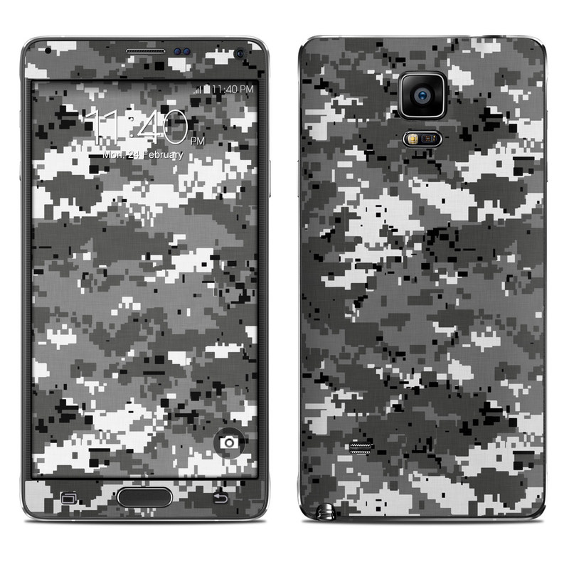 Samsung Galaxy Note 4 Skin design of Military camouflage, Pattern, Camouflage, Design, Uniform, Metal, Black-and-white with black, gray colors