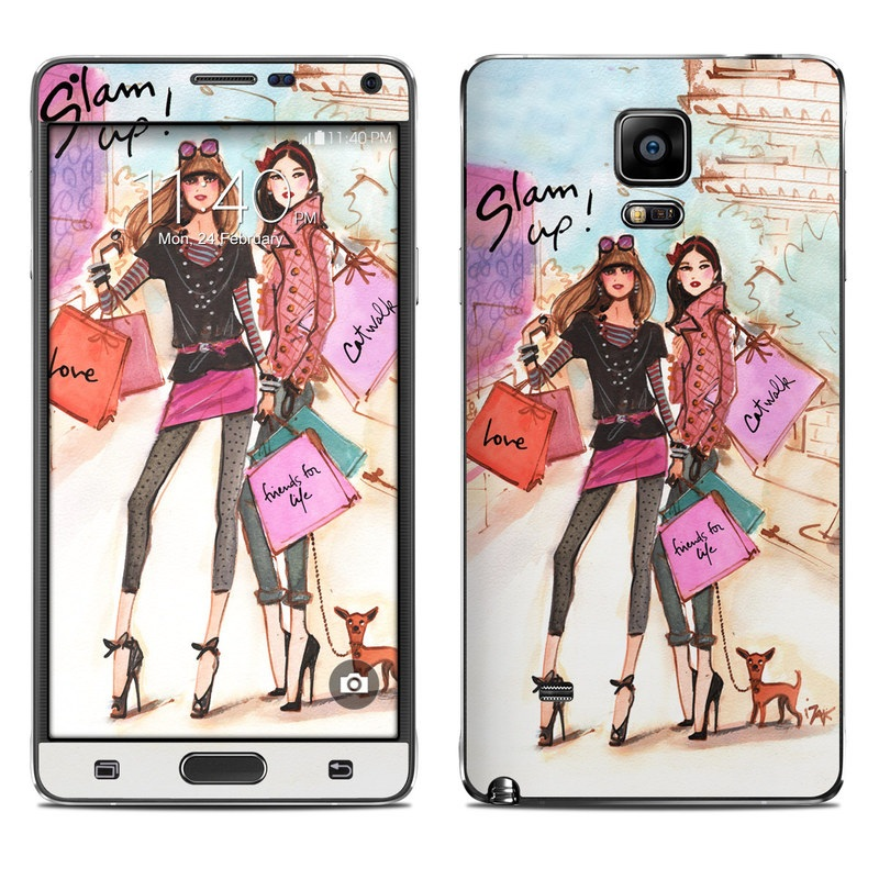 Samsung Galaxy Note 4 Skin design of Fashion illustration, Fashion, Fashion model, Pink, Fashion design, Illustration, Street fashion, Shopping, Style, Art with gray, pink, white, yellow, black, red colors