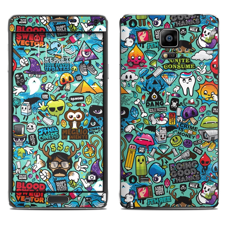 Samsung Galaxy Note 4 Skin design of Cartoon, Art, Pattern, Design, Illustration, Visual arts, Doodle, Psychedelic art with black, blue, gray, red, green colors
