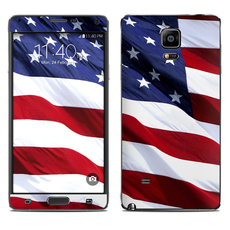 Samsung Galaxy Note 4 Skin design of Flag, Flag of the united states, Flag Day (USA), Veterans day, Memorial day, Holiday, Independence day, Event with red, blue, white colors