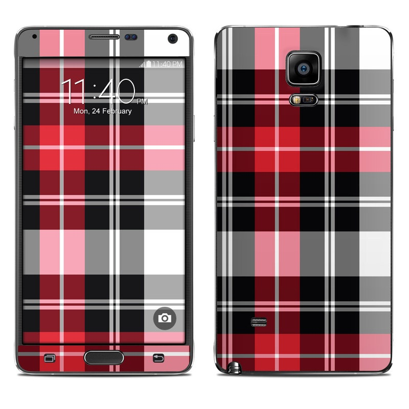 Samsung Galaxy Note 4 Skin design of Plaid, Tartan, Pattern, Red, Textile, Design, Line, Pink, Magenta, Square with black, gray, pink, red, white colors