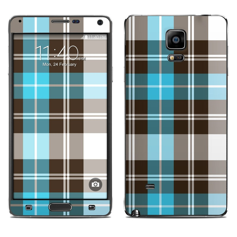 Turquoise Plaid Galaxy Note 4 Skin