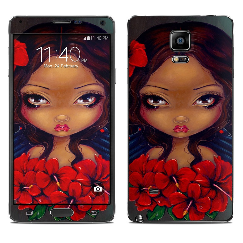Red Hibiscus Fairy Galaxy Note 4 Skin