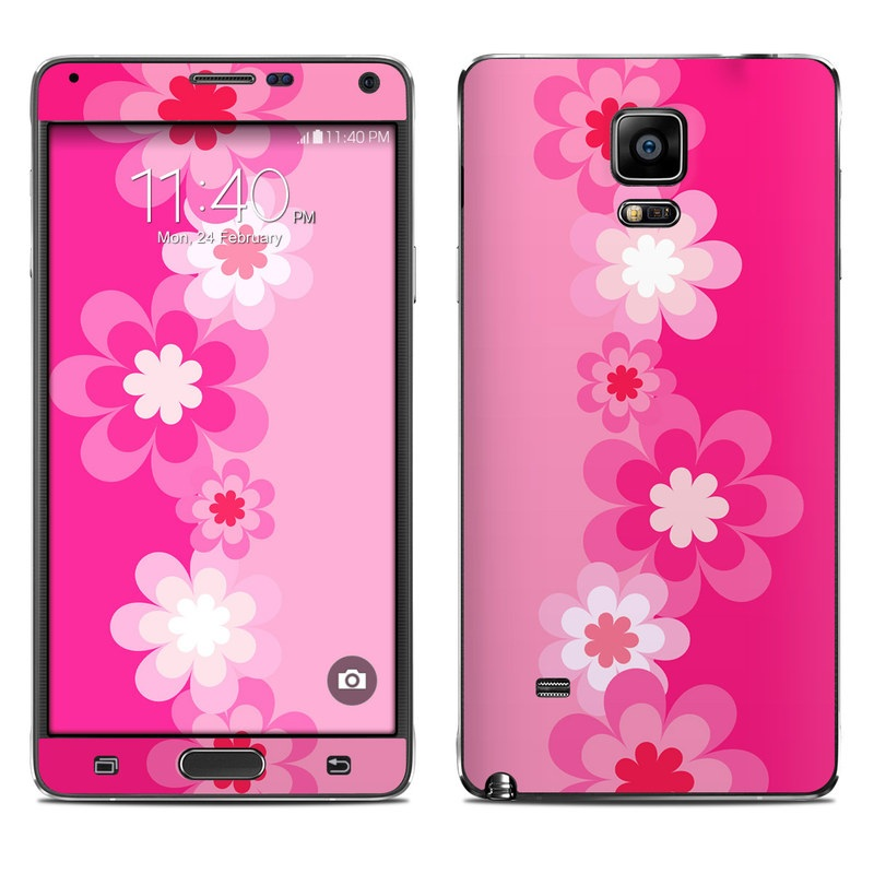 Retro Pink Flowers Galaxy Note 4 Skin