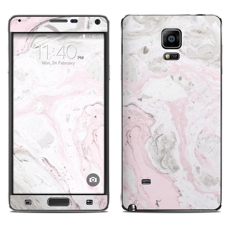 Samsung Galaxy Note 4 Skin design of White, Pink, Pattern, Illustration with pink, gray, white colors