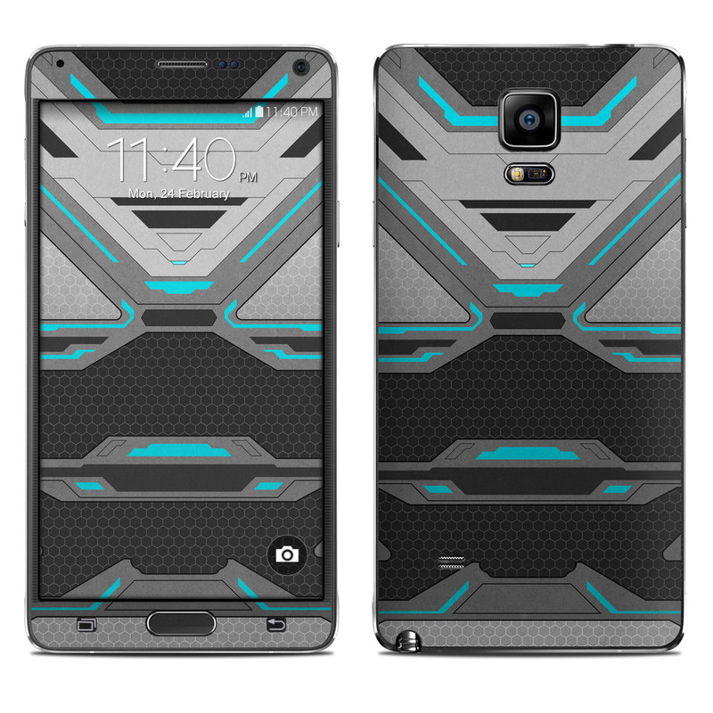 Samsung Galaxy Note 4 Skin design of Blue, Turquoise, Pattern, Teal, Symmetry, Design, Line, Automotive design, Font with black, gray, blue colors